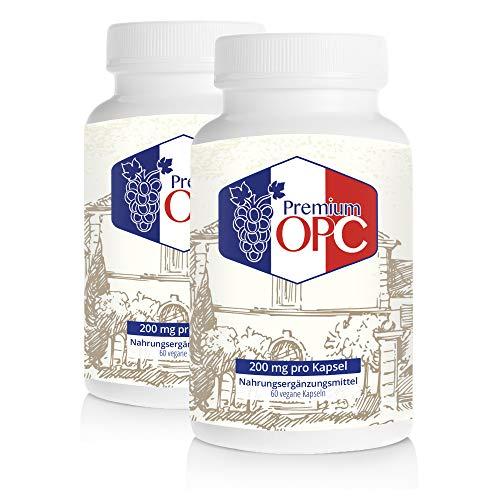 Premium OPC Kapseln 200 mg reines französisches OPC pro Kapsel - DOPPELPACK (2 x 60 Kapseln)