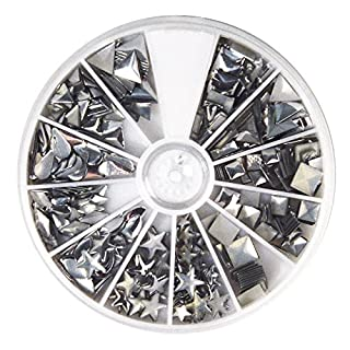 Rayher Hobby 38643606 Hotfix Metall-Nieten, silber, 2,5-10 mm, Formenmix, 12 Formen, selbstklebende Bügelnieten in runder Sortierbox mit Fächern, gesamt 420 Nieten