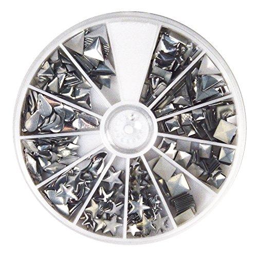 Rayher Hobby 38643606 Hotfix Metall-Nieten, silber, 2,5-10 mm, Formenmix, 12 Formen, selbstklebende Bügelnieten in runder Sortierbox mit Fächern, gesamt 420 Nieten (Quadrat Perlen Runde)