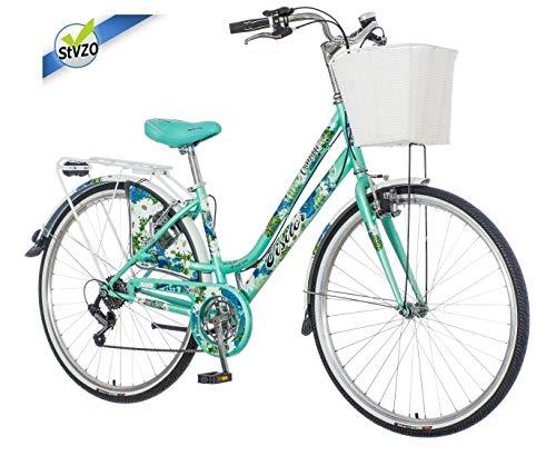 breluxx® 28 Zoll Damenfahrrad Venera Fashion Camille Citybike mit Korb + Licht, Retro Bike, 6 Gang Shimano, Modell 2019