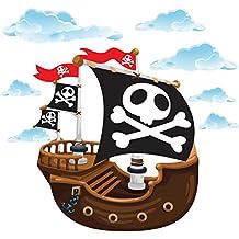 GET STICKING DECOR® Barco Pirata Pegatinas De Pared/ Calcomanías Colección, TheOriginal Pship.4, Vinilo Removible Brillante, Multi Color. (Large)