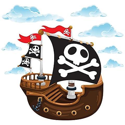 GET STICKING DÉCOR® Piraten Piratenschiff Wandtattoo, Wandsticker Kollektion, TheOriginal Pship4, Glänzend Herausnehmbar Vinyl, Multi Farbe. (Large)