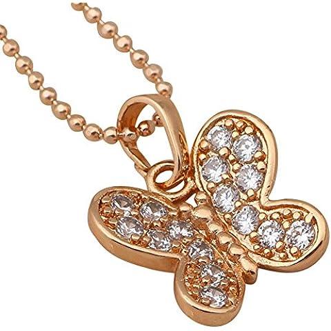 Bling accessori di moda gioielli vintage farfalla ciondolo collana placcato in oro rosa 18K con zirconi AAA ln180a