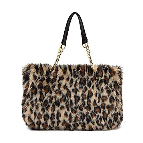 Winter flauschige große Kapazität Frauen Plüsch Handtasche Reißverschluss Tasche Schultertasche (LEOPARD) (Flauschige Tasche Handtasche)