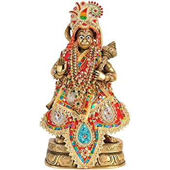 Buy Exotic India Lord Hanuman with Dress and Jewelry - Brass