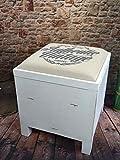 Wäschetruhe Wäschesammler Wäschebox Landhaus Holztruhe Holzkiste Holz Vintage Shabby Chic antik Used Look LV2030 (Weiß)