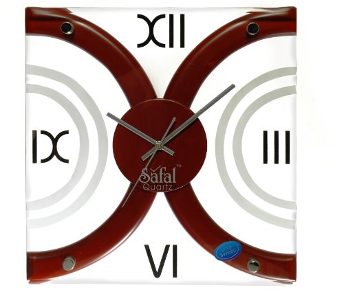 Safal Wooden Wall Clock (30.48 cm x 30.48 cm, Brown, SQ 1016)