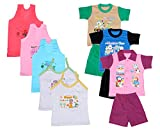 IndiWeaves Boys Pure Cotton Baba Suit (T-Shirt and Bottom) (Pack of 3)- (Assorted Color/Print) And Girls Pure Cotton Cartoon Print Slips/Vests (Pack o