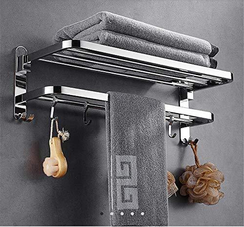ZYC Nagelfreie Handtuchhalter Bad Chrom-Finish Faltbare Badetuchregale Handtuchhalter Bad Hardware Double Level mit Haken,50cm (Kuchen Stand Double)