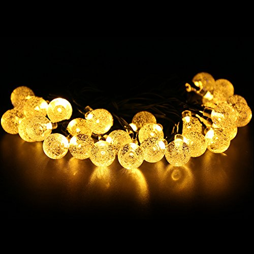 Luci della Stringa Solare, Homecube 20ft/6m 30 LED Sfera di Cristallo Esterna Impermeabile String Lights (Corda Solare)