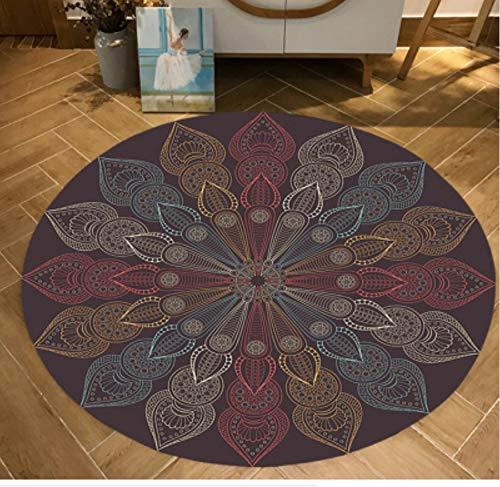 Hjyl tappeti tappeti retrò etnici rotondi per soggiorno tappetino antiscivolo tappetini per sala da pranzo diametro 80cm