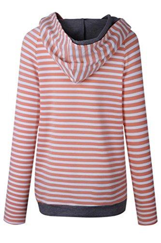 Zaywind Damen Gestreift Pulli Kapuzenpullover Reißverschluss Hoodie Sweatshirt Sport Langarm Pullover Outwear Jacke Orange
