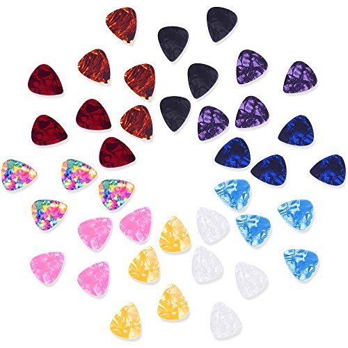 mudder-mixed-color-046mm-celluloid-guitar-picks-plectrums-with-metal-pocket-box-40-pack