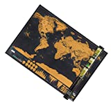 Poualss Scratch Off World Map, Mini World Map Poster Black and Gold Edizione Deluxe Poster Opera Scratch Map per la Decorazione della Parete di Casa