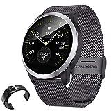 QKa Smart Watch mit Blutdruck-Herzfrequenzmessgerät und EKG-Wiedergabediagramm, einstellbare Helligkeit Edelstahl-Armband Smartwatch IP68,Black