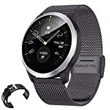 QKa Smart Watch mit EKG-Playback-Diagramm, Blood Pressure Heart Rate Monitor, Adjustable Brightness Edelstahl-Armband Smartwatch IP68,B