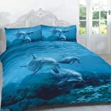 Duvet Cover Set Double Size Bed 3d Animal Print Quilt Bedding Sets With Pillow Cases Poly Cotton , Dolphin Print