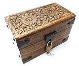 Caja del tesoro auténtica de madera, con cerradura, baúl de madera