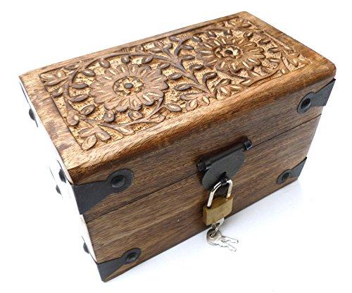 24KS Truhe mit Schloss aus Holz Schatzkiste Schatztruhe Holztruhe Geschenkbox Geburtstag Hochzeit Deko Kiste verschließbar abschließbar mit Deckel