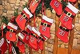 Adventkalender - Advent - Girlande aus Nikolaus - Stiefelchen jeweils ca. 250 cm breit, sofort einsetzbar und befüllbar mit Süßigkeiten oder Spielzeug 24 teilig - als Adventskalender - Filz - Stiefel zum Aufhängen