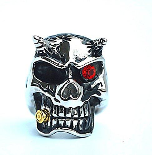 Hommes En Acier inoxydable Bagues de doigt Crâne Head Inlaid Rouge CZ Silver Noir 2.2cm Taille 59