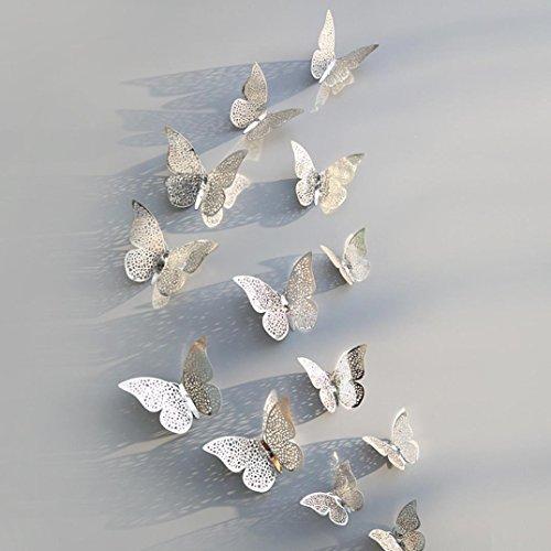 wandaufkleber wandtattoos Ronamick 12 Stücke 3D Hohlwandaufkleber Schmetterling Kühlschrank für Heimtextilien Neu Wandtattoo Wandaufkleber Sticker Wanddeko für Schlafzimmer Wohnzimmer Kinderzimmer (D) (12x8 Wandbild)
