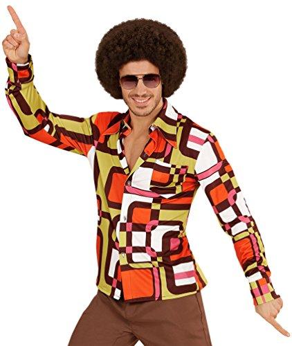 Karneval-Klamotten Hippie Kostum Herren Hippie-Hemd 70er Jahre Herren-Kostüm Retro-Hemd orange braun Karneval Größe 48/50