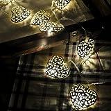 LED-Lichtshop 1 Stück 3m lange 20er LED-Lichterkette mit silbernen Metall-Herzen, batteriebetrieben mit Schalter. Hochwertige Deko Lichterkette für Innen von LED-Lichtshop.