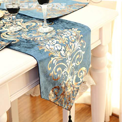 Weanorey Der barocke Tischläufer im europäischen Stil neoklassischen Satin Samt Bronzing Satin...