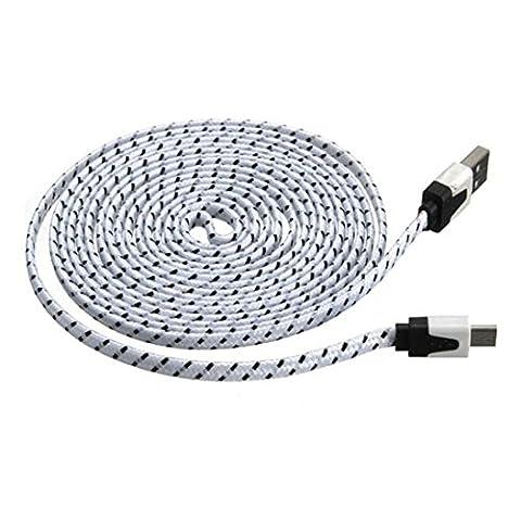 Câble USB, Hansee 3m Noir Plat en tissu tressé Micro USB chargeur de câble de synchronisation de données pour tablette téléphone portable