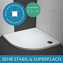 Duschwanne / Duschtasse AQUABAD® Comfort Praktica | Maße: 90x90cm viertelkreis R55 | Sehr stabil und flach
