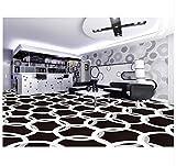 3D Hintergrundbild Wallpaper Boden Pvc Wandbild 3D Geometrische Schwarz Weiß Boden Malerei Aufkleber Wohnzimmer Badezimmer Wasserdicht PvcBodenbelag Tapete Wandbild 120X80Cm,Ayzr