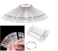 Idea Regalo - PIXNOR 50 pz Nail Art Tips colore bastoni Pop Display Fan pratica Starter anello chiaro fai da te