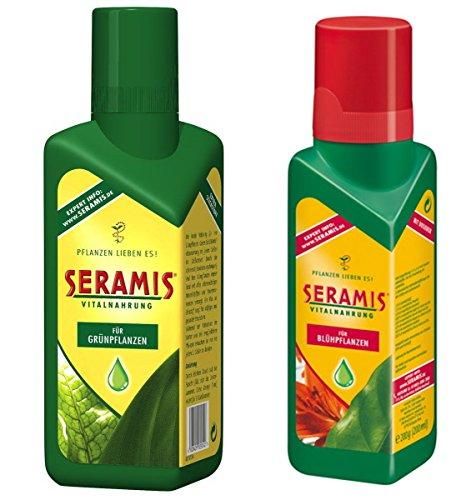 Set aus Seramis® flüssige Vitalnahrung für Blühpflanzen und Grünpflanzen, je 500 ml