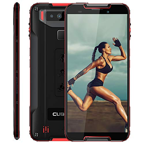 cubot quest rugged smartphone 5.5 pollici corning gorilla 5th, 4gb + 64gb, impermeabile ip68, android 9, octa-core 64 bit, 4000mah type-c ricarica rapida face id, nfc, 4g lte cellulare rosso