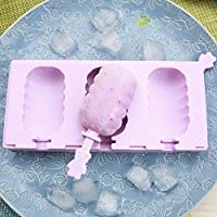 3 Holes Wave Section Silicone DIY Ice Cream Mold Tools With Dust Cover Sticks Ice Bucket Ice Cream Mold Ice Tray Tool