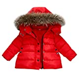 FeiliandaJJ Baby Mantel,Infant Toddler Mädchen Junge Winter Daunenjacke Kapuzenjacke Outwear Kinder Pelzkragen mit Reißverschluss Coat Warme Kleidung (100 (18~24Monate), Rot)