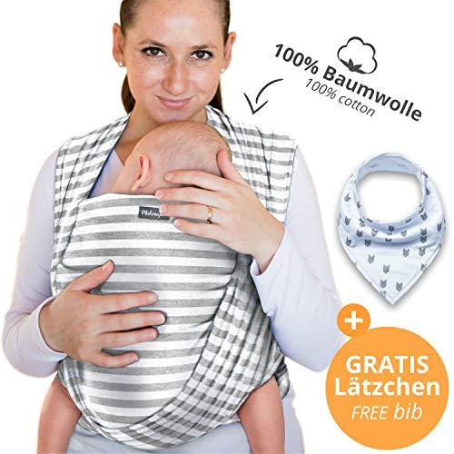 Babytragetuch aus 100% Baumwolle - Hellgrau mit Streifen – hochwertiges Baby-Tragetuch für Neugeborene und Babys bis 15 kg – inkl. Aufbewahrungsbeutel und GRATIS Baby-Lätzchen – Makimaja®