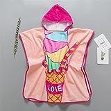 WEILIVE Gemütlich Eiscreme-Muster-Kind-Bademantel-Mantel-Badetuch-Baby-Badebekleidung mit Kapuze Breathable Absorbent Bademantel Handtuch-Kleid