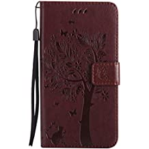Mokyo Flip Wallet Case for Samsung Galaxy J7 2017/J730 [with Free Stylus Pen],Premium Soft PU Leather Embossed Cat Butterfly Tree Pattern with [Card Slots][Magnetic Closure][Stand Function] Vintage Slim Folio Book Style 360 Protection Cover Shell + Detachable Hand Strap for Samsung Galaxy J7 2017/J730 - Brown