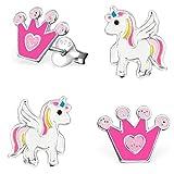 2 Paar Ohrstecker Glitzer Krone + Pegasus Einhorn 925 Echt Silber Mädchen Kinder Pferde Ohrringe (Krone Pink-Rosa)