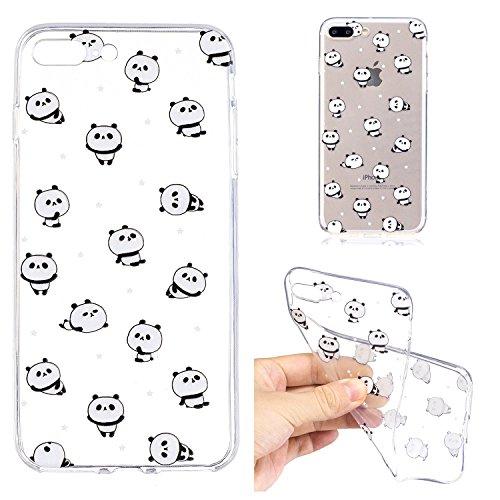 Cover Per iPhone 7 Plus/iPhone 8 Plus 5.5 La cover è carinissima?Funyye Silicone Custodia Morbida Trasparente con Disegno Cristallo Chiaro Sottile Leggero Flessibile Antiurto Antiscivolo Morbida TPU+ Cute Panda
