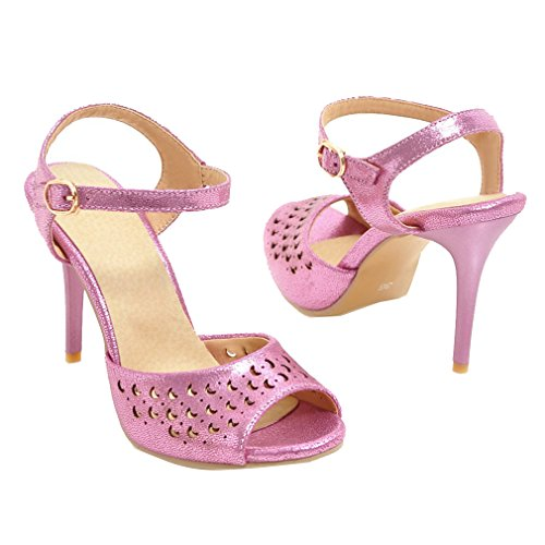 YE Damen Ankle Strap Peep Toe Stiletto High Heel Sandalen mit 9.5cm Absatz Party Schuhe Lila