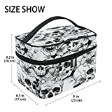 Makeup Bag, Sugar Skull Flower Print CosmeticToiletry Storage Large Travel Handle Personalised Pouch with Compartments for Teenage Girl Women Lady White Black