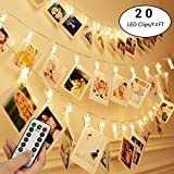 FLYING_WE 20 LED Foto Clip String Lights con Telecomando, 7.2ft Fairy String Twinkle Lights per la Festa Nuziale Decorazioni per la casa di Natale, Foto appese, Carte. (Bianco Caldo)