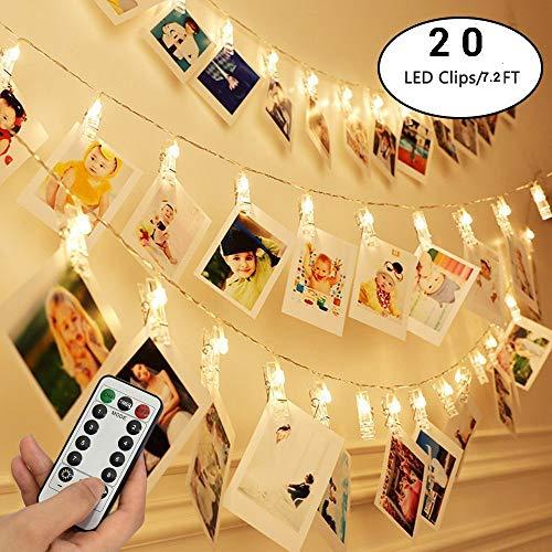 FLYING_WE Luces de Cadena de Clips de Fotos de 20 LED con Control Remoto, Luces centelleantes de Hadas de 7.2 pies para decoración navideña de Bodas, Fotos Colgantes, Tarjetas. (Blanco cálido)