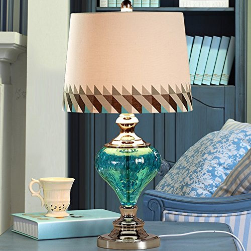 Blaue glas dekorative lampe Schlafzimmer nachttischlampe Jane modern Mittelmeer-stil lampen - Blau Dekorative Glas