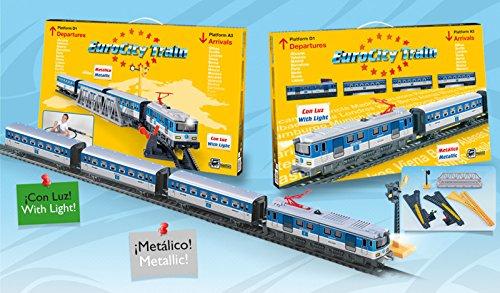 Tren Electrico con Luz EuroCity Metalico Locomotora Vagones Puente Semáforo 690