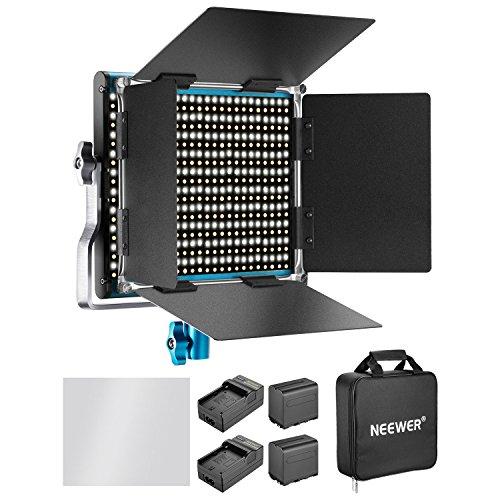 Neewer Dimmbares Bi-Farbe 660 LED Videolicht mit 6600mAh Akku und Ladegerät Set: 3200-5600K CRI 96+ mit U Halter und Barndoor für Kamera Fotostudio YouTube Aufnahme 1 Barndoor Kit