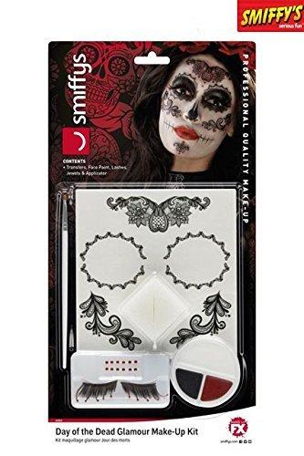 Kostüm Ideen Witzige Halloween (Smiffy's 44962 - Damen Tag der Toten Augenmaske, Gesichtsfarbe, Wimpern, Schmuck und Applikatoren, One Size,)
